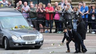Funeral cortege in Batley