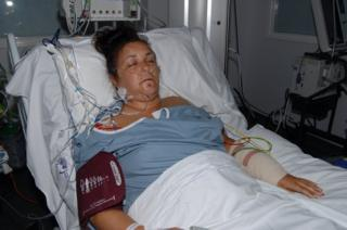 Janika Cartwright in hospital bed