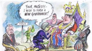 Ian Knox cartoon showing Theresa May kneeling before the DUP leader Arlene Foster