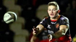Hallam Amos in action for Dragons