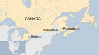 Map of Canada showing Fredericton in the east