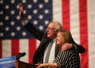 Bernie Sanders and his wife Jane at a rally in Laramie, Wyoming, 5 April