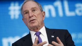 Donald Trump File image of Michael Bloomberg, April 2018