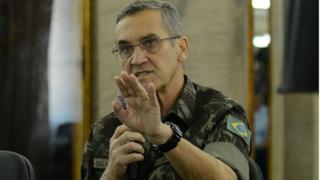 O general do Exército, Eduardo Dias da Costa Villas Bôas fala sobre a apresentação de tropas das forças armadas que atuarão nos jogos olímpicos e paralímpicos Rio 2016 em 24 de junho de 2016