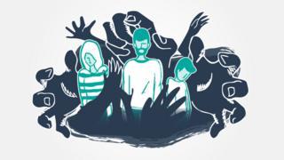 Ilustração de família presa