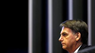 Presidente eleito Jair Bolsonaro em uma sessão no Congresso em Brasília