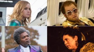 Clockwise from top left: Brie Larson in Captain Marvel, Taron Egerton in Rocketman, Olivia Colman in The Favourite and Samuel L Jackson in Glass