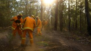 Fire crews in Australia work to create control lines - or fire breaks - to help slow the spread of a fire
