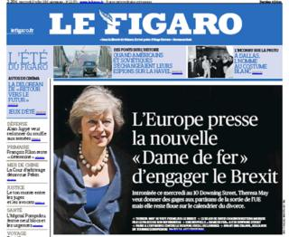 Front page of French paper Le Figaro