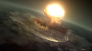 (ภาพจากจินตนาการของศิลปิน) พลังงานที่เกิดขึ้นจากการชนของอุกกาบาตยักษ์ เทียบเท่ากับระเบิดปรมาณูที่ทิ้งใส่เมืองฮิโรชิมา 10,000 ล้านลูก