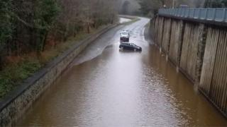 A470 Dolgellau bypass flooded