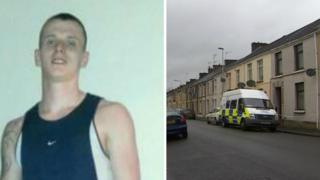 Simon Lee Bell and a police van on Dillwyn Street, Llanelli