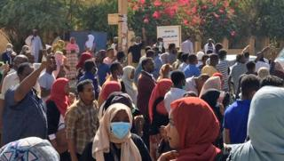 Sudanese protesters attend an anti-government demonstration in the capital Khartoum - Sunday 6 January 2019