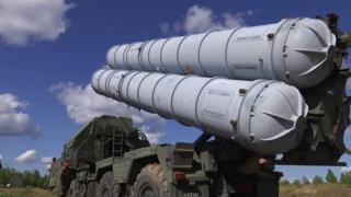 Russian defence ministry handout showing S-300 surface-to-air missile system taking part in Vostok 2018 (East 2018) military exercise in Russia (13 September 2018)