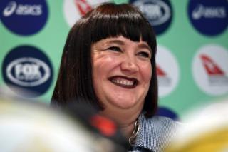 Raelene Castle speaks during a press conference after becoming Rugby Australia's new chief executive, making her the first woman to ever oversee the sport anywhere in the world, in Sydney on 12 December 2017.