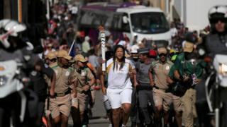 La antorcha olímpica en camino a Río.