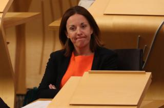 Kezia Dugdale, in the main chamber at the Scottish Parliament.