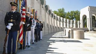 An honour guard prepares to participate in the 70th anniversary D-Day commemoration at the WWII Memorial in Washington