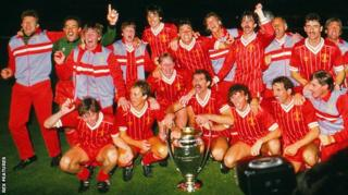 Liverpool celebrate their 1984 European Cup win
