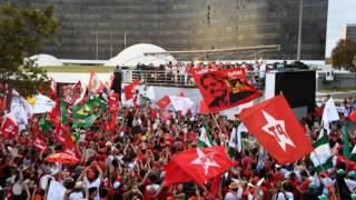 Lula's supporters massed outside the Electoral Supreme Court in Brasilia August 2018