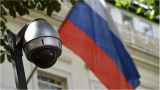 Russian flag and security camera