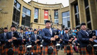 The Simon Fraser University play in Buchanan Street during the Piping Live! festival