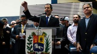 Venezuelan opposition leader Juan Guaidó addresses a rally in Caracas on March 27, 2019
