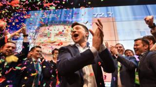 Ukrainian presidential candidate Volodymyr Zelensky reacts after winning the presidential election in April