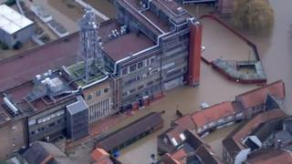 The flooded telephone exchange in York