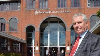 Cllr Steve Eling in front of Sandwell Council house