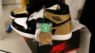 A pair of Air Jordan 1 Retro shoes are seen before being packed to ship out of Stock X on January 10, 2018 in Detroit, Michigan.