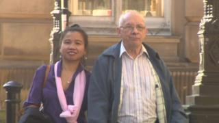 Derek Jessop, 74, and wife Malee Kadram, 39.