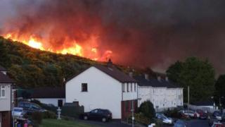 The gorse fire in Newry
