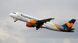 An Airbus A320 of Thomas Cook Airlines takes off at International Airport in Düsseldorf, Germany, 23 September 2019