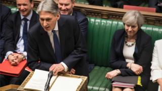 Philip Hammond and Theresa May during the Budget
