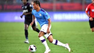Leroy Sane of Man City in action in the Premier League Asia trophy v West Ham