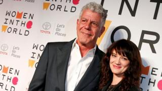 Anthony Bourdain with his girlfriend Asia Argento, a film director, at the Women in the World summit in April 2018. Argento is a high-profile founder of the #MeToo movement.