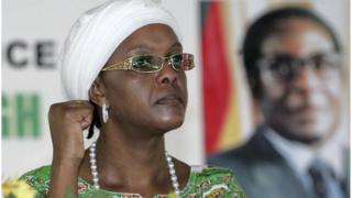 Zimbabwe's First Lady Grace Mugabe, gestures during a Zanu-PF party meeting in Mutare, in this December 17, 2010