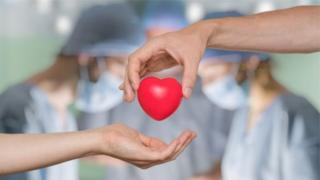 Іграшкове серце в руках у людей