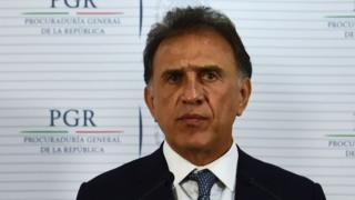 Veracruz governor Miguel Yunez speaks during a press conference
