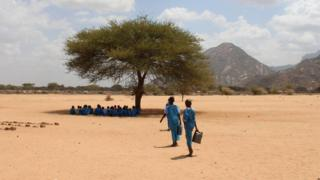 People walking to tree in Marsabit, Kenya