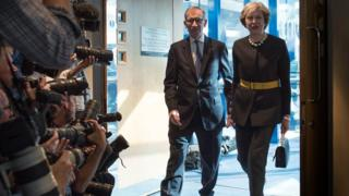 Theresa May arrives at the Tory conference