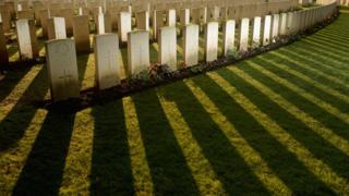 Lines of graves in Sanctuary Wood Military Cemetery, Ypres, Belgium