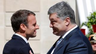 Еммануель Макрон і Петро Порошенко