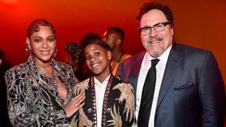 "Beyonce Knowles-Carter, JD McCrary and Director/producer Jon Favreau attend the World Premiere of Disney's ""THE LION KING"" at the Dolby Theatre on July 09, 2019 in Hollywood, California"