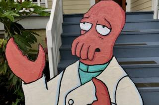 A plywood cut-out of Dr John A Zoidberg