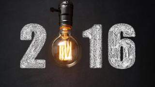 The year 2016 with a lightbulb replacing the 0