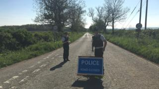 Road closure near Frome, Somerset