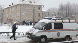 Ambulance outside school in Perm, 15 Jan 18