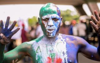 Man with APC body paint